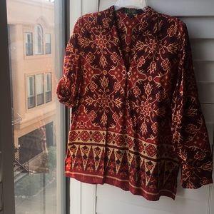 Red print cotton Ralph Lauren top w button sleeves